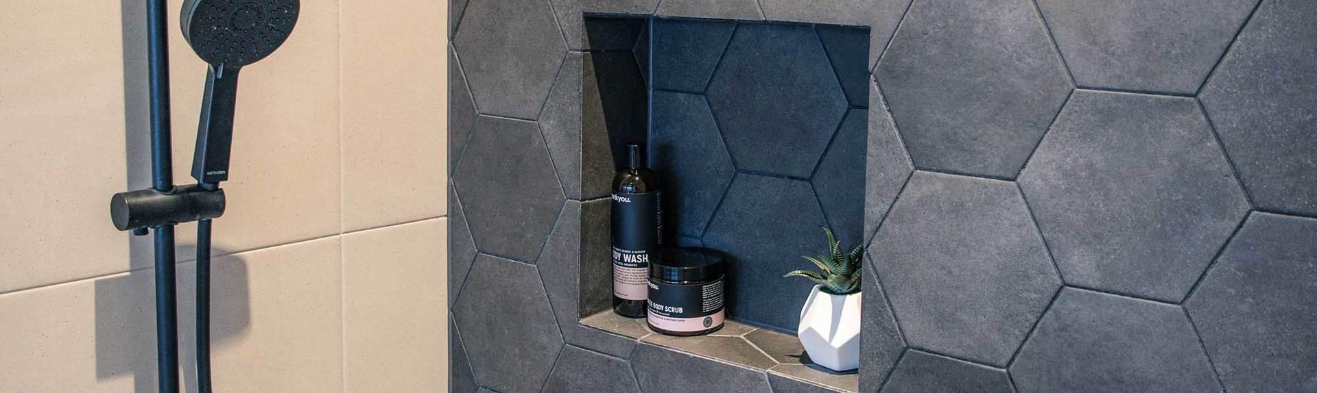 Closeup of shower recess in contemporary bathroom renovation