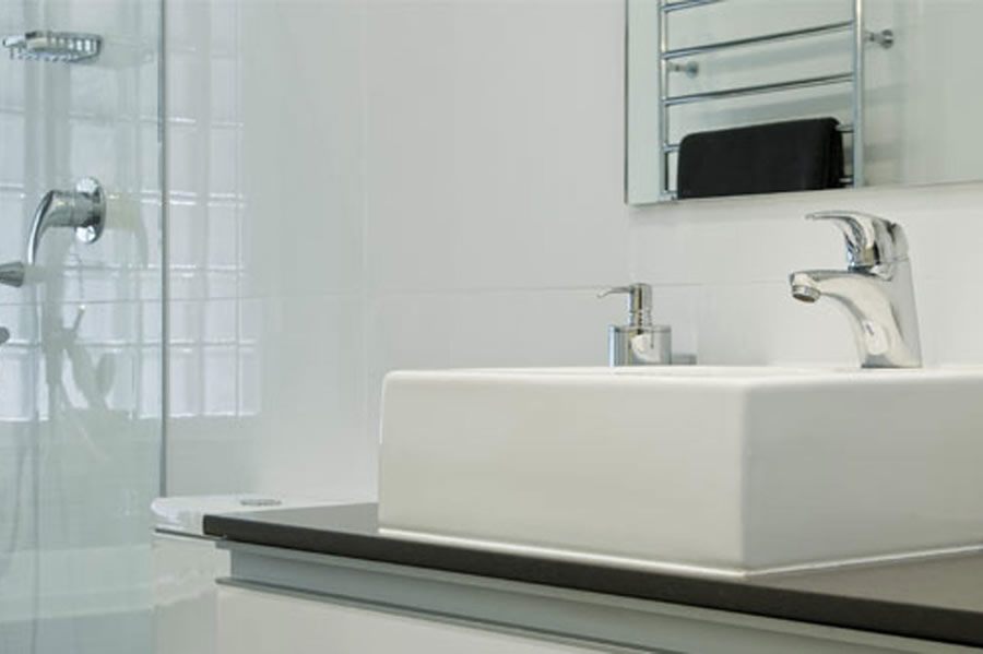 Contemporary bathroom renovation with modern bathware